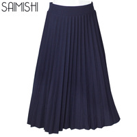 High Quality Spring And Autumn New Women S High Waist Pleated 2017 Fashion Solid Color Half