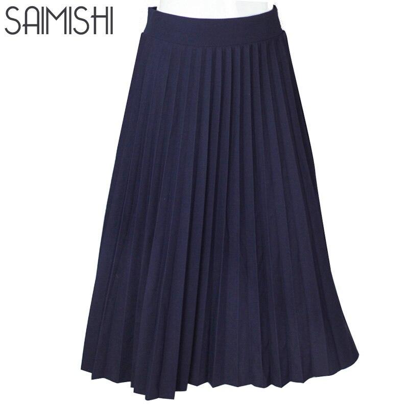 Women Skirts High Quality Spring Autumn Summer Style Women s High Waist Pleated Length Skirt 2017