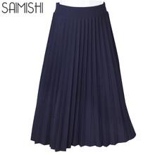 Women Skirts High Quality Spring Autumn Summer Style Women's High Waist Pleated Length Skirt 2017 Hot Fashion Thick Breathble