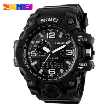 Skmei 1155 Large Dial Shock Watches Men Digital Led 50m Waterproof Military Army Outdoor Sports Watch Alarm Chrono Wristwatches
