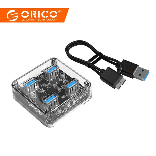 ORICO Прозрачный USB 3,0 концентратор 4 порта высокая скорость USB разветвитель с зарядным интерфейсом для Windows Mac Linux ноутбук ПК USB