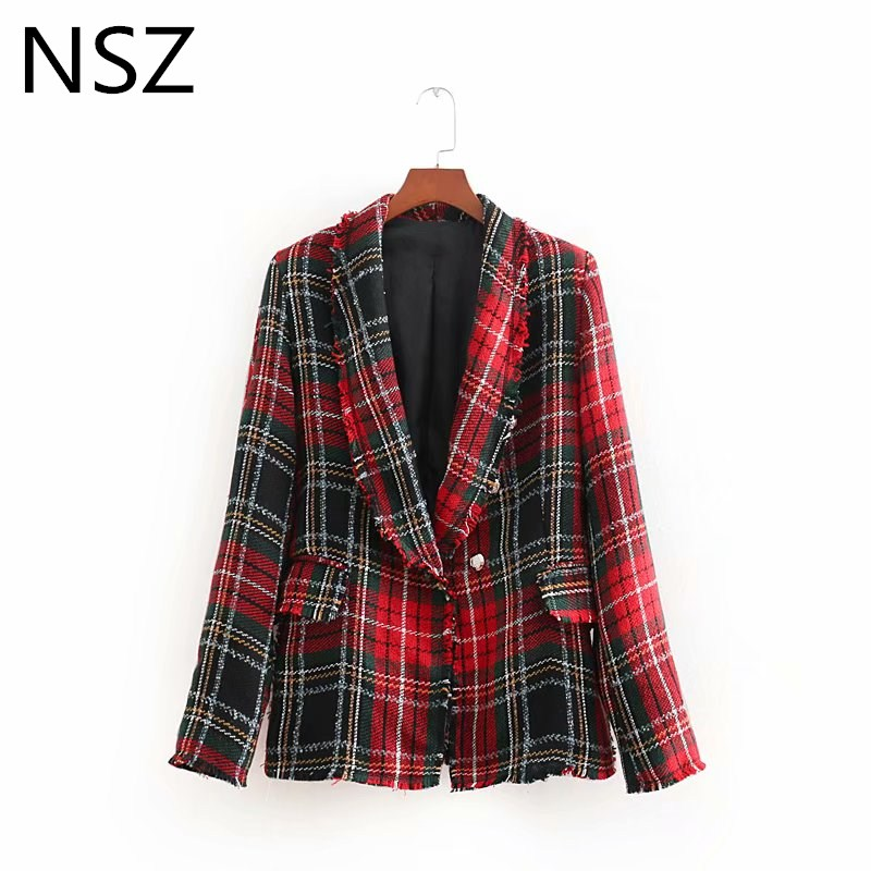 NSZ Women Check Double Breasted Tweed Blazer Red Plaid Jacket Autumn Winter Long Sleeve Tassel Coat Outerwear
