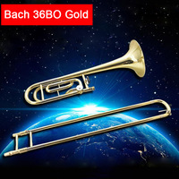 USA tenor trombone Bach 36BO Bb Lacquer gold Trombone beginner grading professional performance musical instrument hard box