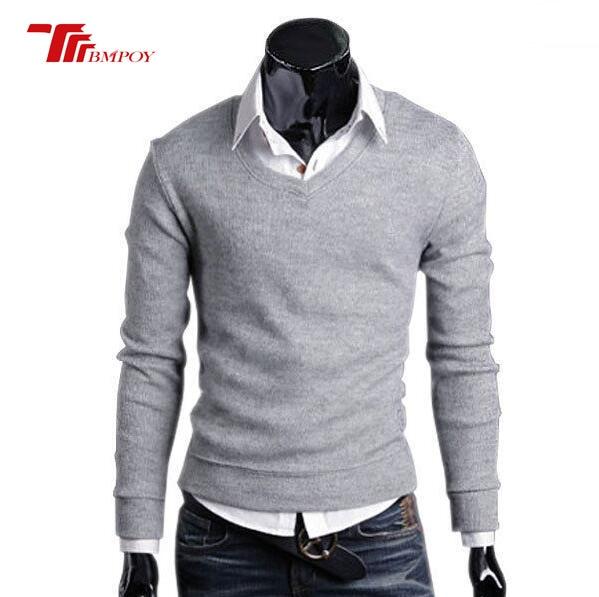 Cashmere Blend Solid Pullovers Spring/Autumn Men's New Clave Camisa  Sweater Slim Men V Neck Shirt