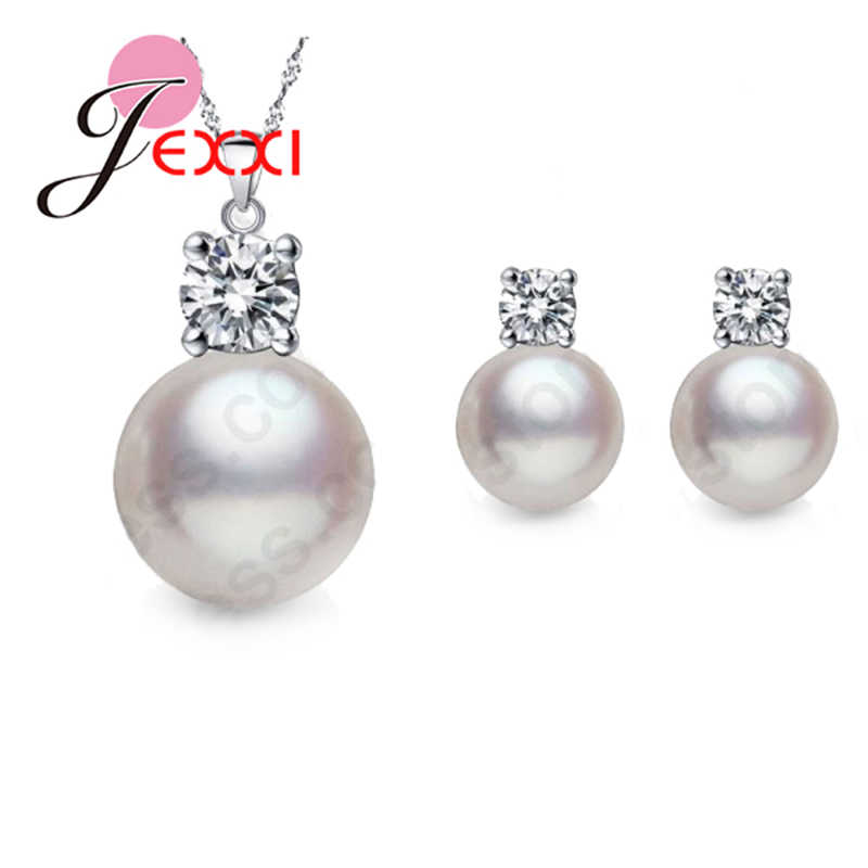 Wholesale Price Top Quality Wedding Jewelry Set Water Pearl Earrings Necklace 925 Sterling Silver Pendant Necklace