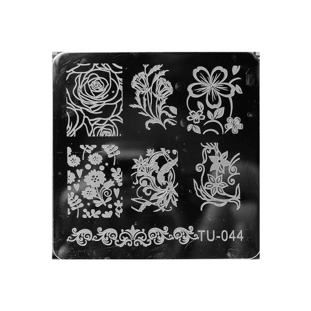 Mezerdoo Cobweb ดอกไม้รูปแบบเล็บทำเล็บมือ 1 ชิ้นสแควร์แผ่นภาพ + 1 สีชมพู Stamper ชุดขูดเล็บเอส