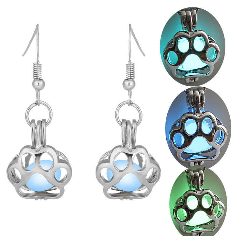 Cat Palm Hallowee Luminous ball Cage Earring Jewelry Findings Cage Pendant Essential Oil Diffuser Locket Earring For Women Gift