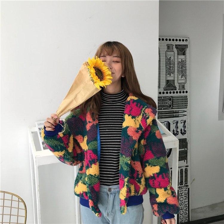 Turn Camouflage Court Vestes Outwear Manteaux Chaud Casual Col Multi 2019 Drop Épaule Printemps Lâche down Femmes Bouton q600Pf