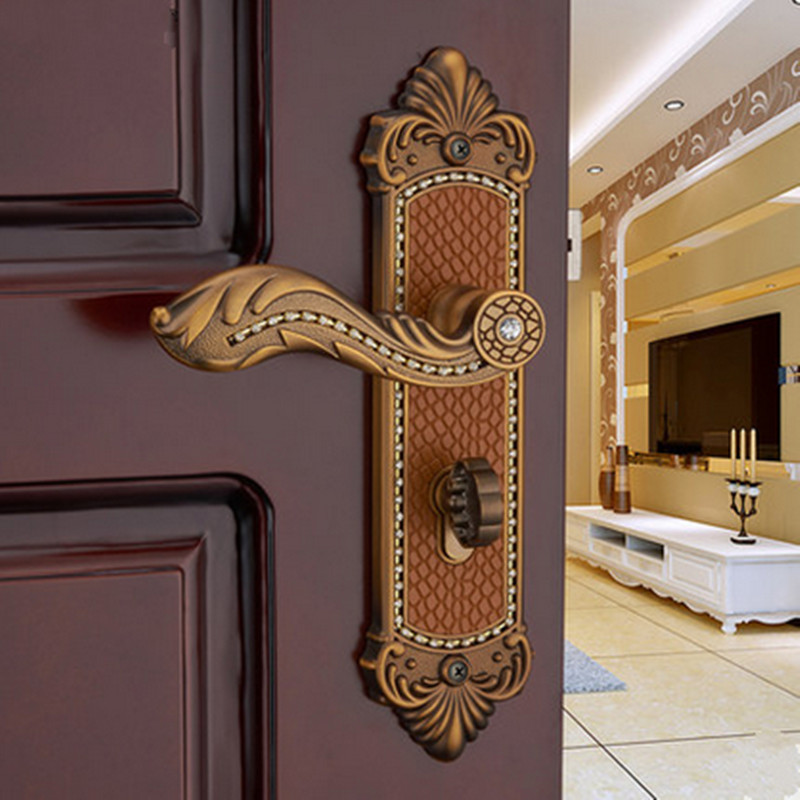 Euro style  luxury  crystal archaize bed room handle lock antique cooper diamond wood door lock  2 latchs indoor handle  lock european fashion glass crystal live room book room door handles amber white indoor lock mechanical handle lock bearing lock body