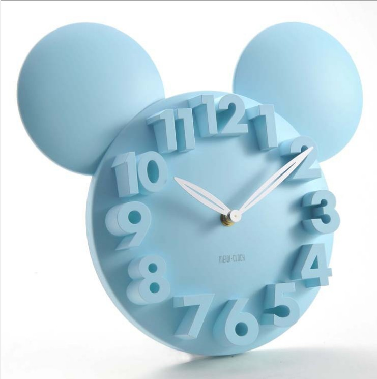 Mickey Mouse 3d wall clock digital large decorative wall clock modern design silent hanging on the wall kitchen watch home decor