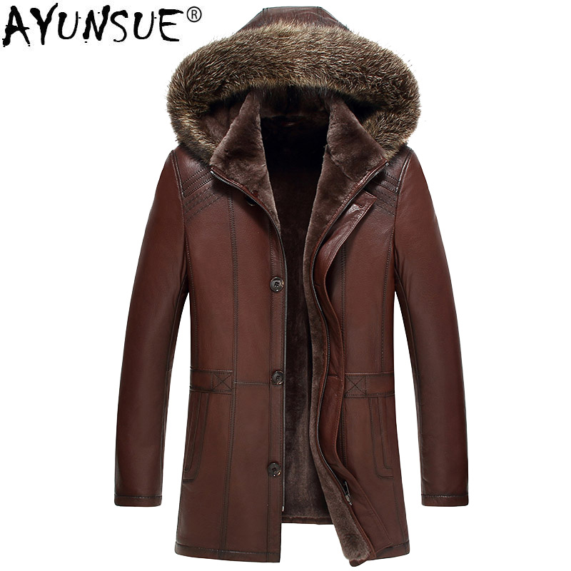 AYUNSUE Genuine Leather Jacket Men Real Pure Natural Fur Coat Men Real Raccoon Fur Collar Jackets