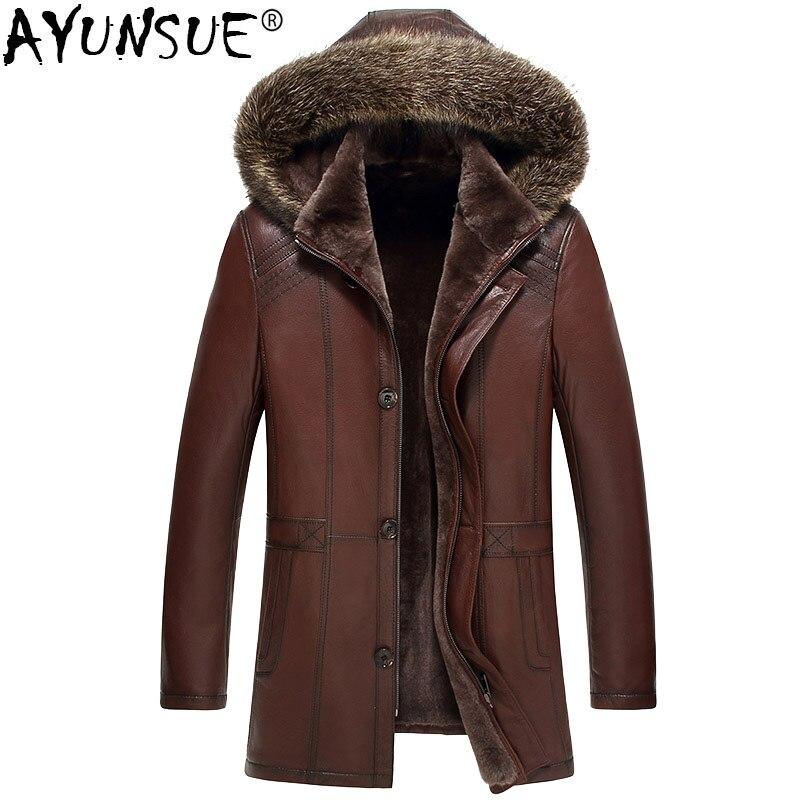 AYUNSUE cuero genuino chaqueta Real puro Natural hombres Real mapache Chaquetas Chaqueta de cuero de piel de oveja MY736