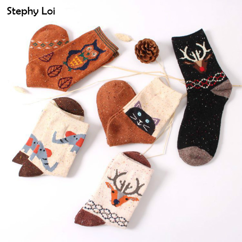 Vintage Thick Rabbit Wool Women Ladies Crew Socks Retro Winter Harajuku Animal Owl Deer Cat Elephant Brand Lovely Cute Cotton