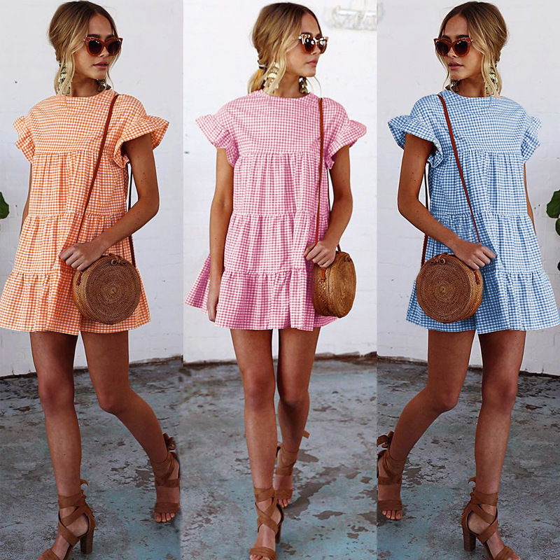 2019 Summer Sexy plaid fold horn sleeve dress woman casual  sexy Pleated summer elegant dresses party night
