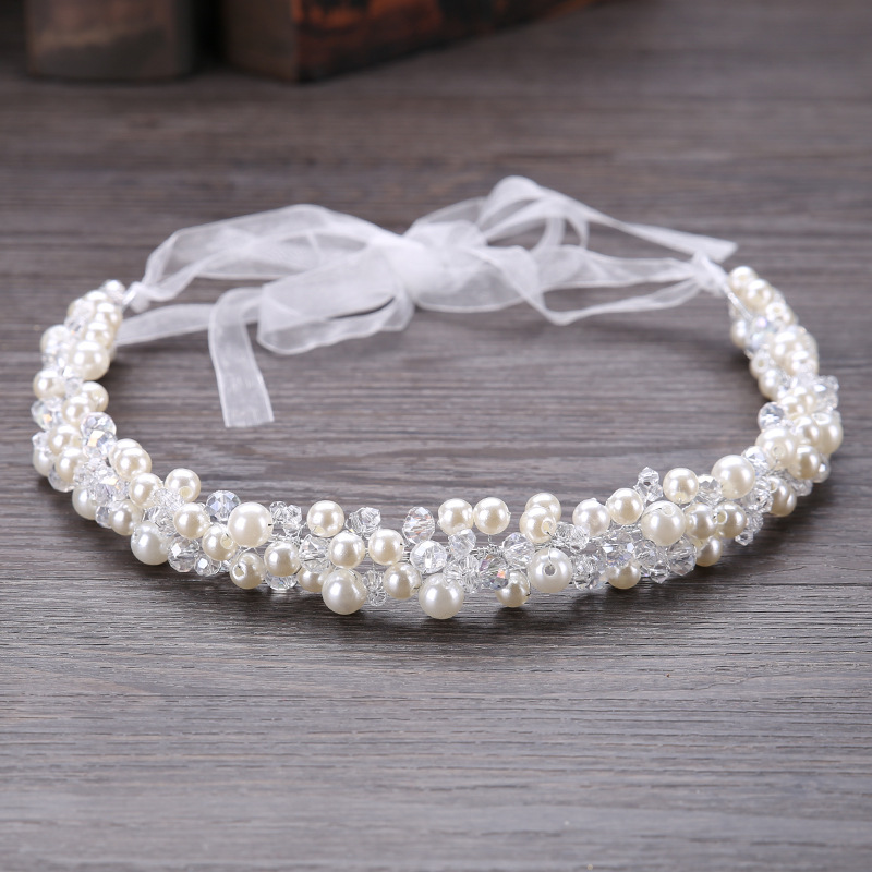 Metting Joura Wedding Bridal White Beads Pearl Knitted Headbands Flower Hairband For Women Girls Party Hair Accessories