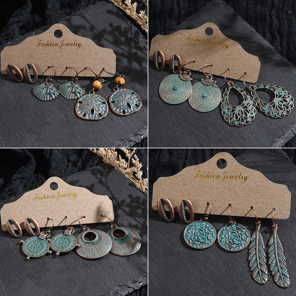 Multiple 3 pairs/Set Vintage Boho Ethnic Skull Shell Dangle Drop Earrings Suit For Women Fashion 2019 Indian Jewelry Accessories