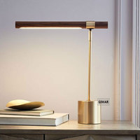 Individual Nordic Designer Designer Desk Lamp Creative Desk Wooden Eye Protection Decoration Copper Drawing Art Desk Lamp