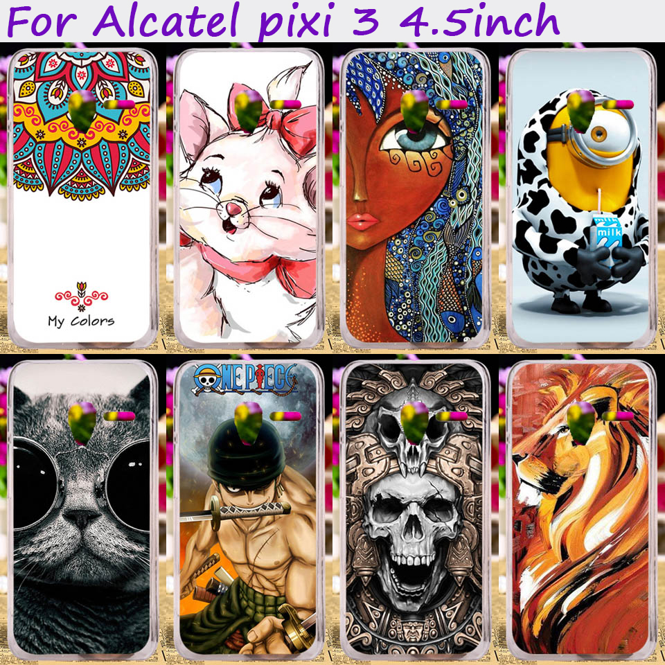 TAOYUNXI TPU Silicones Animal Flower Phone Case Alcatel OneTouch Pixi 3 only for 4G Version 4