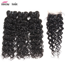 Ishow Hair Water Wave Bundles Indian Hair Weave 3 Bundles With Closure More Wavy Non Remy Human Hair With Lace Closure(China)