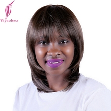 Yiyaobess 35cm African American Dark Brown Short Wig Styles With Bangs Heat Resistant Synthetic Bob Wigs For Black Women