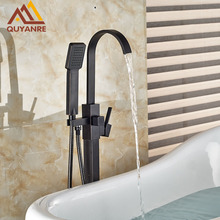 Blackened Bathroom & Shower Faucets with ABS Handshower Single Handle Floor Standing Tub Faucet