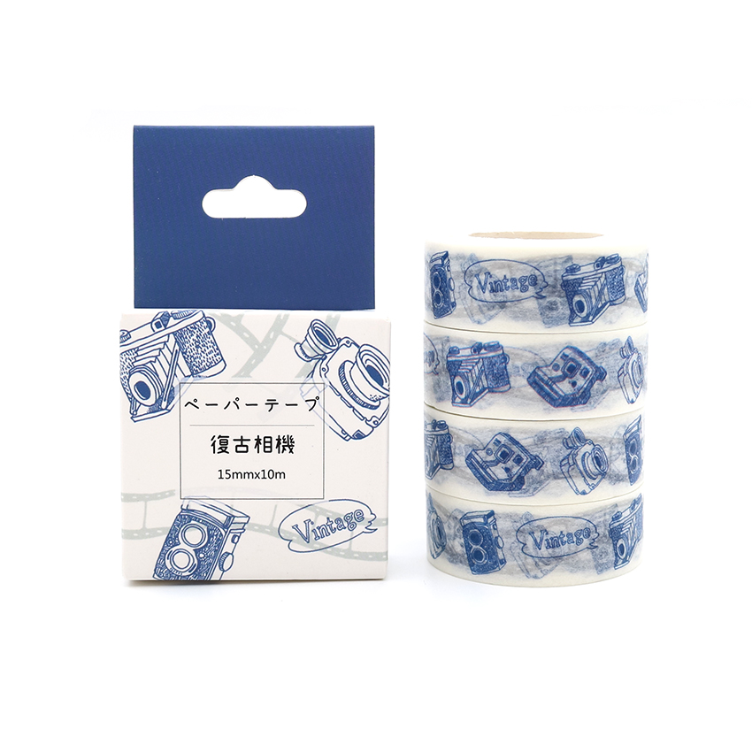 Box Package Retro Style Camera Washi Tape Excellent Quality Colorful Paper Masking Tape DIY Decorative Tapes 10m*15mm