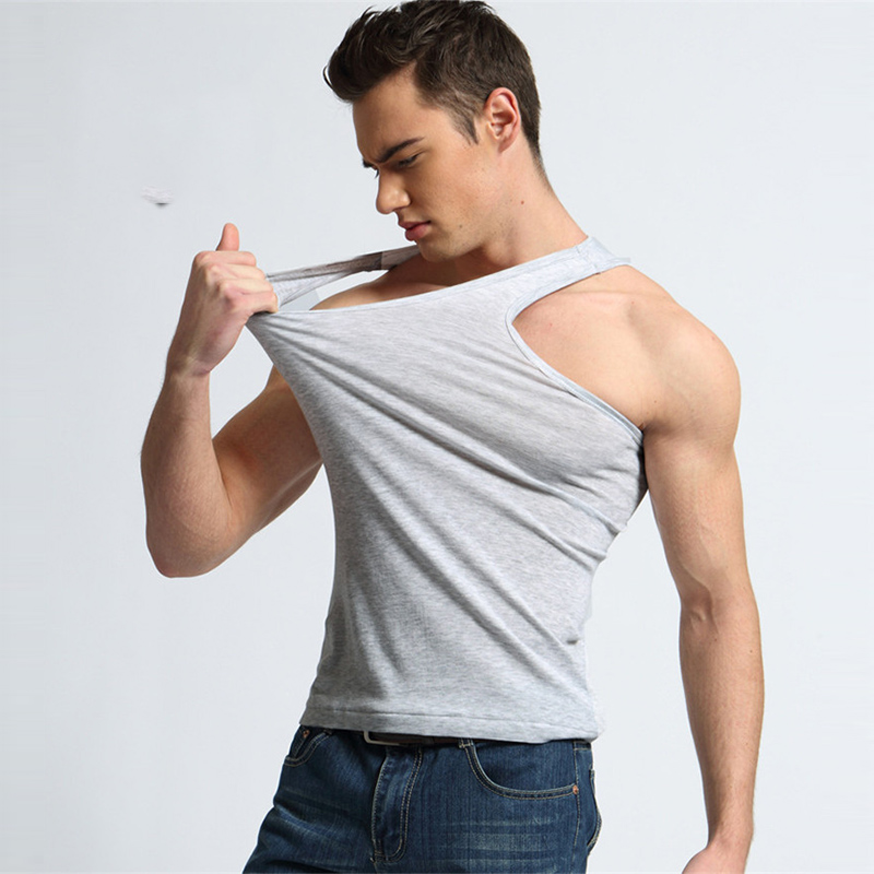 TJWLKJ Mens Clothing   Top   Tees Cotton Gym   Tank     Tops   Bodybuilding Fitness   Top   Tees Vest Sports Slim Breathable Tanktop Ropa Hombre