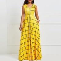 Clocolor Summer Long Dress Vintage Yellow Plaid Sleeveless Sundress Women Retro African Clothing Plus Size A Line Maxi Dress