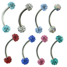 Stainless Steel Curved Barbell AA Crystal Eyebrow Ring Shamballa Disco Crystal Eyebrow Piercing Jewelry