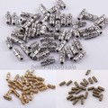 OMH wholesale 100Pcs Tibetan silver Column Shaped Decorative Pattern Spacer Bead Finding ZL135