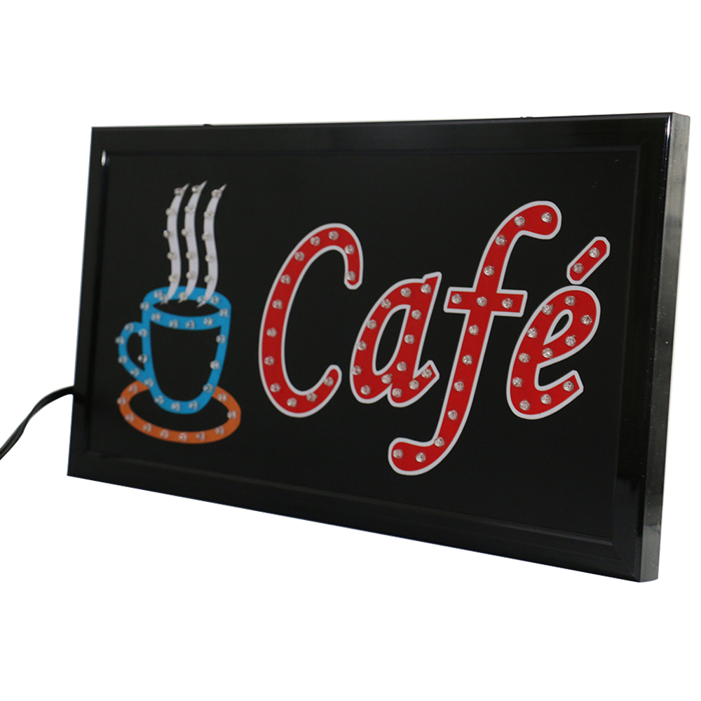 CHENXI 27 Styles New Led Coffee Shop Neon Signs Animated 19 10 Inch Coffee Cafe Store Business Open Led Advertising Light in Advertising Lights from Lights Lighting
