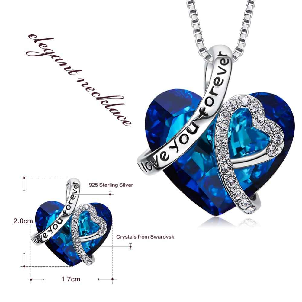 8bc3cb68efd73 Cdyle Love You Forever Necklace Crystals from Swarovski Valentine's Day  Gift For Women Charm Blue Crystal Necklaces & Pendants