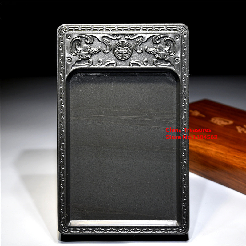 2 Dragon Play with a Pearl Chinese Inkstone for Grinding Ink Made of Natural Stone Paint Plate Ink Slab Ink Stone Yan Tai