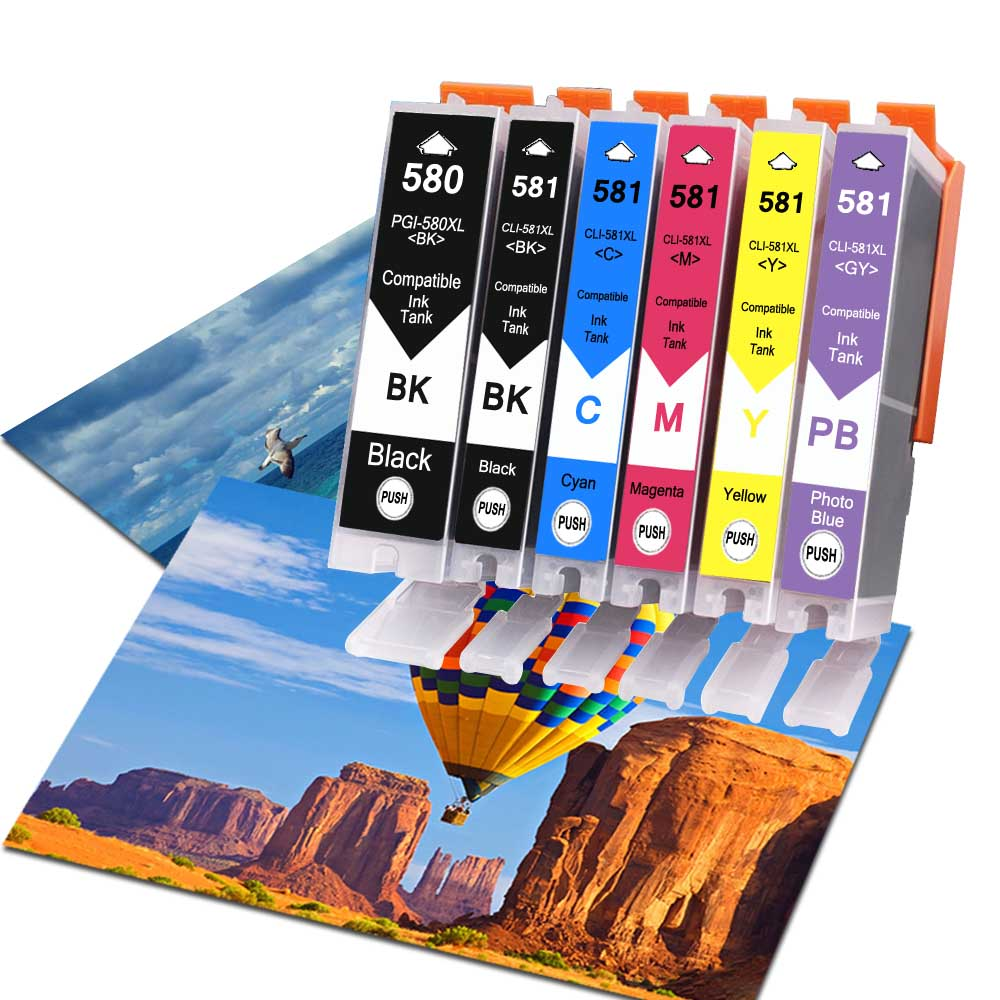 6Pack Compatible Ink Cartridges For PGI580 CLI581 PGI-<font><b>580</b></font> CLI-581 For <font><b>Canon</b></font> Pixma TR7550 TR8550 TS6150 TS8150 TS9150 TS9155 image