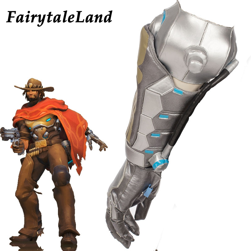 Hot Game OW Jesse McCree Cosplay Accessories Halloween costume accessory Jesse McCree mechanical arm glove Silver