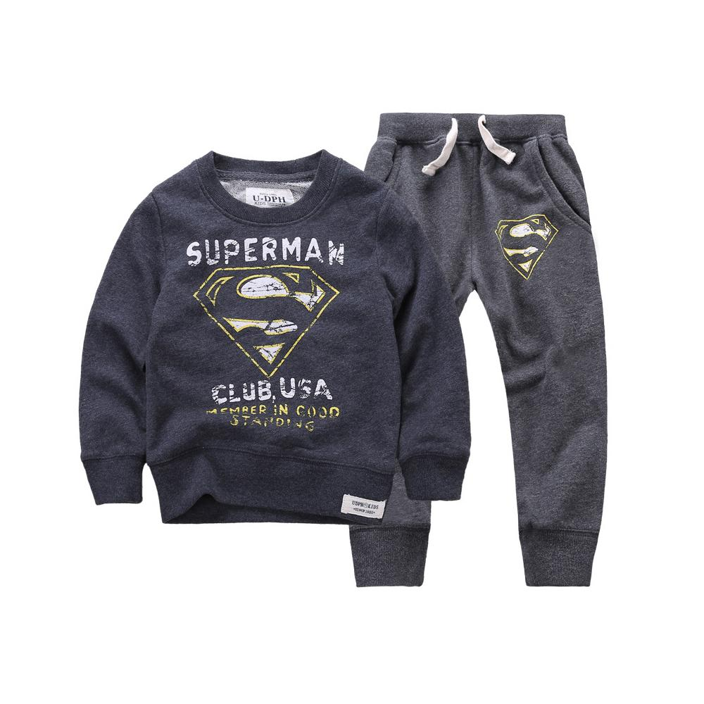 2015 New Winter Autumn Boys & Girls Children Hoodies & Sweatshirts Kids Boys Clothing Set Cartoon man Casual Cotton
