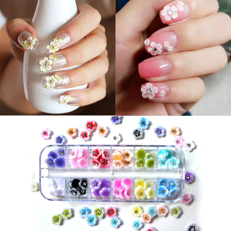 12 Colors 3D Flower Nail Art Decorations Flowers for Nails Rhinestone Nail Charms Natural Dry Flower Charms Finger Decoration