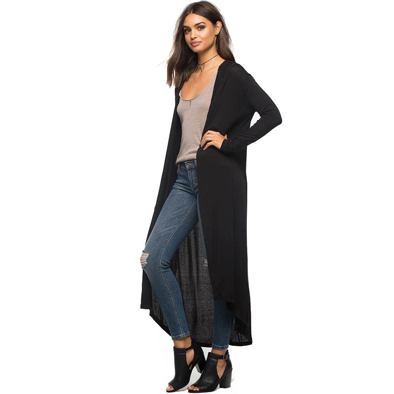 PEONFLY Hooded Long Cardigan Women 2017 Spring Autumn New Casual Big Size Long Sleeve Cardigan Female Black Army Green Blouse