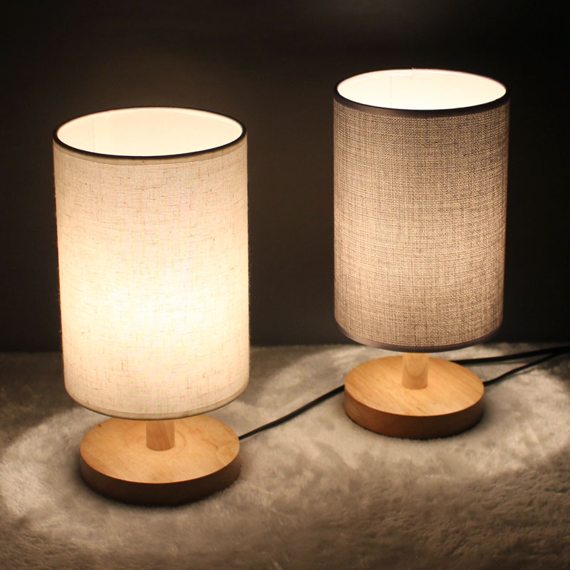 Free shipping modern minimalist wood bedroom table lamp for Minimalist bedroom lighting
