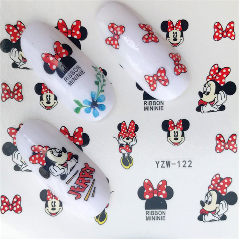 Image 5 - Hello Kitty  Mickey Mouse Decals Stickers Wrap Nails Cartoon Cute Nail Sticker Tips Decoration Nail Art Water Transfer Sticker-in Stickers & Decals from Beauty & Health