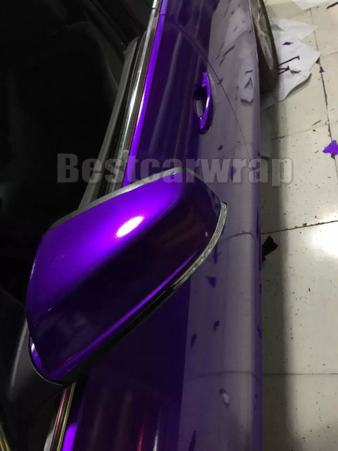 Glossy Metallic Vinyl Midnight Purple Car Wring With Air Bubble Free Pearl Gloss Foil Size