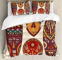 Бар Декор постельное белье маска конструкций африканских абориген Книги по искусству узоры Культурный этническим принтом, 4 шт. Постельное