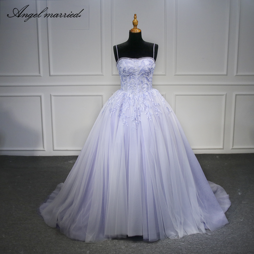Angel married Quinceanera Dress  spaghetti strap Sweetheart Beaded lace tulle Ball Gown Sweet 16 Dress Red Quinceanera gown