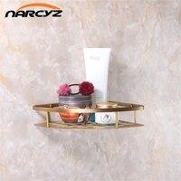 Classic Wall Mounted Antique Brass Bathroom Soap Basket Bath Shower Shelf Basket Holder Building Material Vintage