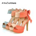 Fashion sexy ultra-high heel shoes 2015 bridal party shoes Female summer new ankle wrap sandals Bowtie