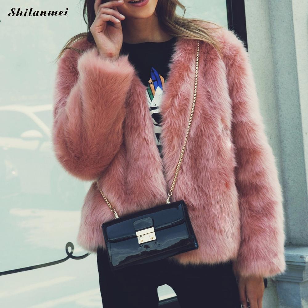 2017 autumn winter women fashion warm faux fur coat fox fur coat outwear elegant full hair overcoat jacket streetwear plus size