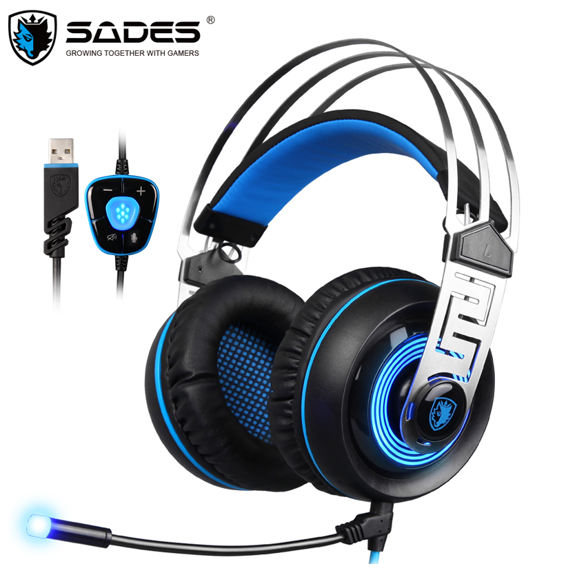 Sades A7 USB Gaming Headset Headphones 7.1 Stereo Surround Sound Earphone Game Headphone with Microphone Led for PC Laptop Gamer usb earphone headphones with mic call center computer usb headset customer service headset for pc laptop skype chat gaming