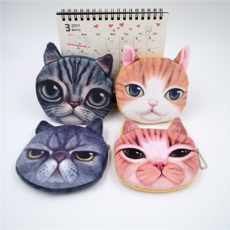 Hot Cute women coins purse dog cat face bag children plush card holder key case with keychain female monedero monedas para mujer fura key holder with 2 leds