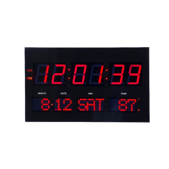 US $69 27 20% OFF|LED digital dot matrix wall clock Large led digital wall  ckock with thermometer modern electronic led clock living room clock -in