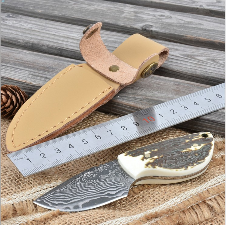 Damascus Steel Blade Antlers Handle Tea Knife Fixed Knife With Leather Sheath Survival Tactical Camping Knives Outdoor Tools BK3 stainless steel fixed blade knife fruit knife outdoor survival knife pocket tools edc knives nylon sheath